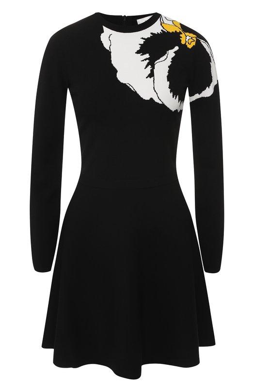 Купить Приталенное платье с вышитым принтом Valentino, QB0KD0944CP, Италия, Черный, Вискоза: 83%; Полиэстер: 17%;