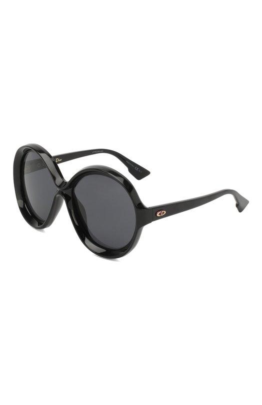 Купить Солнцезащитные очки Dior, DI0RBIANCA 807, Италия, Черный, Линзы-Поликарбонат; Оправа-Ацетат;