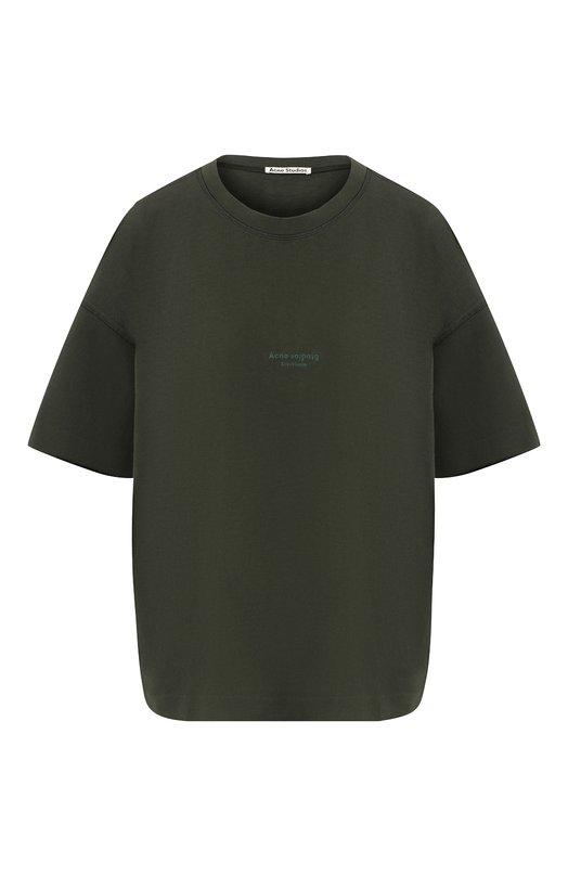 Купить Хлопковая футболка с круглым вырезом и логотипом бренда Acne Studios, 15C176/W, Португалия, Хаки, Хлопок: 100%;