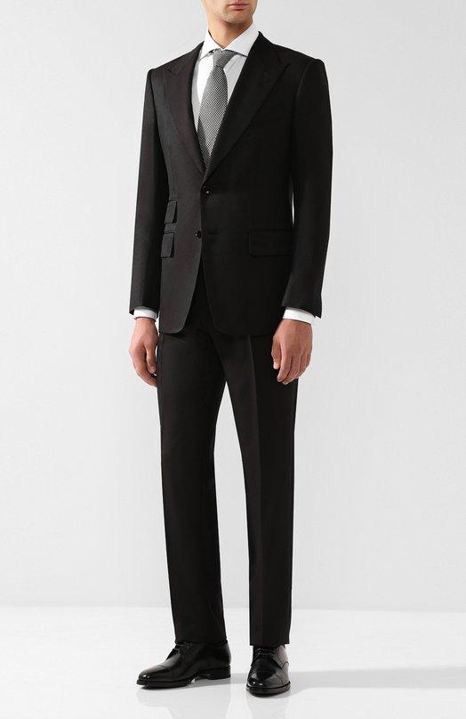 Купить Костюм из смеси шелка и шерсти с пиджаком на двух пуговицах Tom Ford, 416R23/21AL43, Италия, Коричневый, Шелк: 58%; Шерсть: 42%;