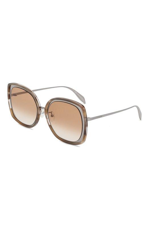 Купить Солнцезащитные очки Alexander McQueen, AM0151 004, Италия, Серебряный, Линзы-Нейлон;