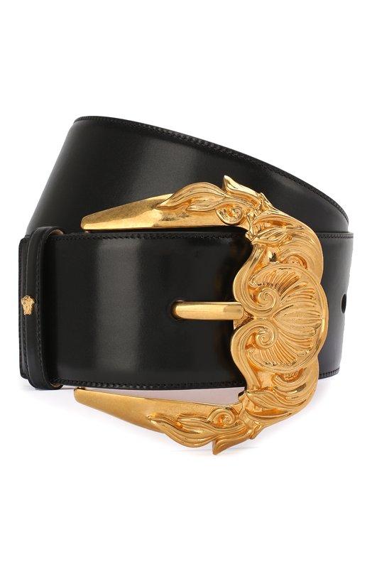 Купить Кожаный ремень с металлической пряжкой Versace, DCDG653/DV6T, Италия, Черный, Кожа натуральная: 100%; Пряжка-мет.сплав: 100%;