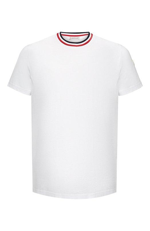 Купить Хлопковая футболка с контрастной отделкой Moncler, D2-091-80283-00-8390Y, Турция, Белый, Хлопок: 100%;