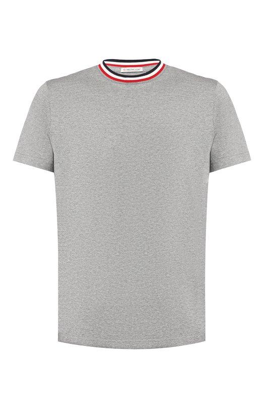 Купить Хлопковая футболка с контрастной отделкой Moncler, D2-091-80283-00-8390Y, Турция, Серый, Хлопок: 100%;