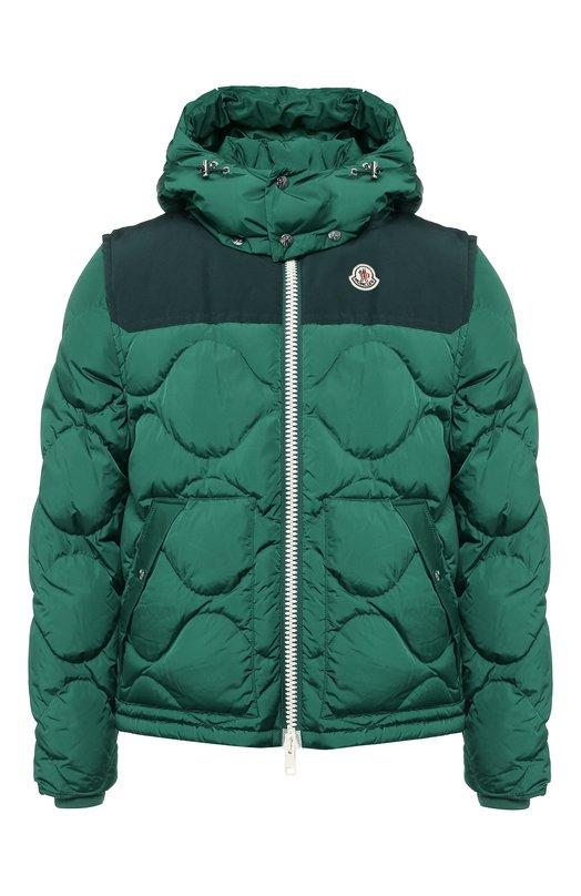 Купить Пуховая куртка Arles на молнии с капюшоном Moncler, D2-091-40326-85-54155, Румыния, Зеленый, Наполнитель-Гусиный пух: 90%; Подкладка-Полиамид: 100%; Полиамид: 100%; Наполнитель-Гусиное перо: 10%;