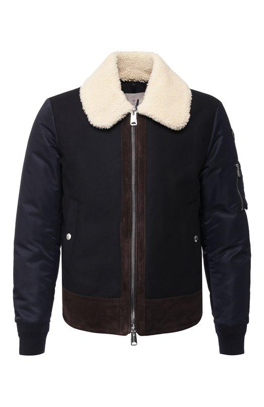 Купить Пуховая куртка Plovan на молнии с отложным воротником Moncler, D2-091-40346-85-57849, Венгрия, Темно-синий, Шерсть: 70%; Кашемир: 5%; Полиамид: 25%; Отделка Мех/овчина/: 100%; Подкладка-Полиамид: 100%;