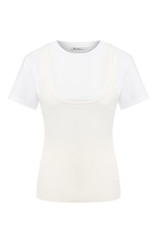 Купить Хлопковая футболка с круглым вырезом T by Alexander Wang, 4C381029E2, Китай, Белый, Вискоза: 91%; Эластан: 9%;