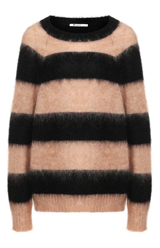 Купить Вязаный пуловер в полоску T by Alexander Wang, 4K381019J5, Китай, Бежевый, Мохер: 56%; Полиамид: 34%; Шерсть: 10%;