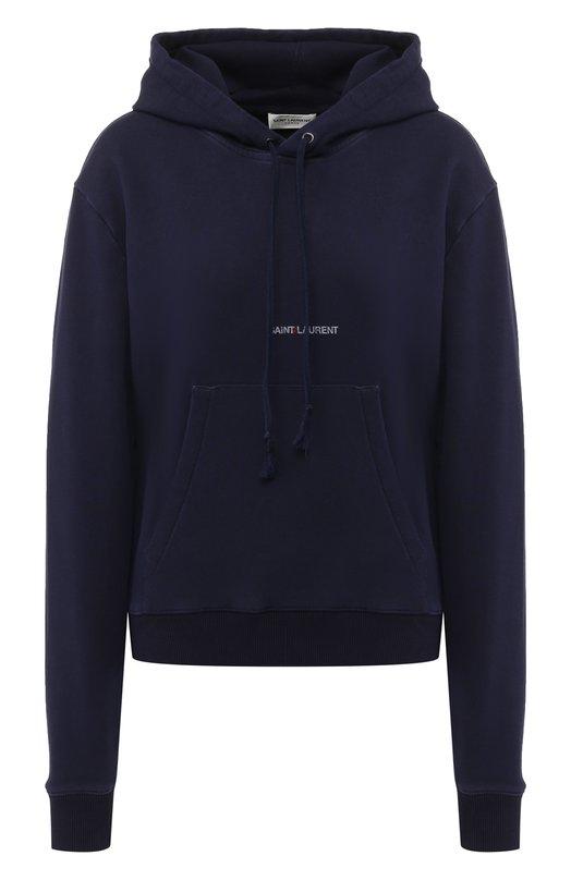 Купить Хлопковый пуловер с капюшоном Saint Laurent, 538330/YB2YE, Франция, Фиолетовый, Хлопок: 100%;