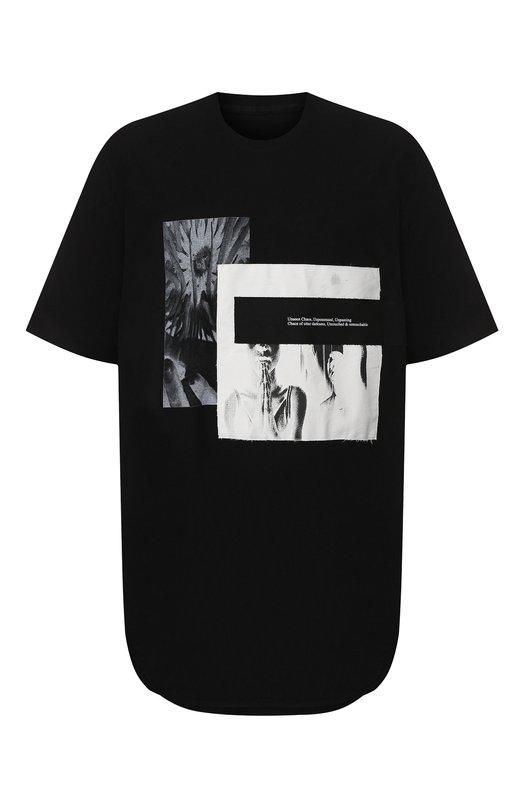 Купить Удлиненная хлопковая футболка с принтом Julius, 637CPM7, Япония, Черный, Хлопок: 100%;