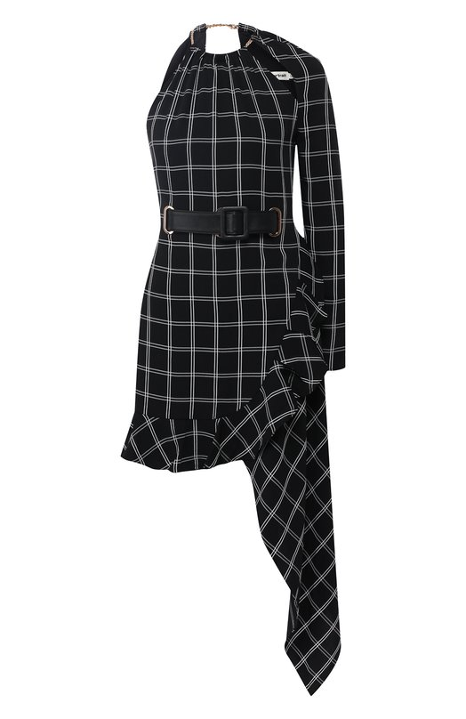 Купить Мини-платье асимметричного кроя с поясом self-portrait, SP19-011, Китай, Темно-синий, Полиэстер: 90%; Вискоза: 10%;