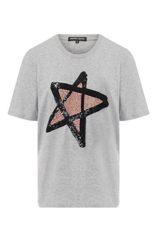 Купить Хлопковая футболка с декоративной отделкой Markus Lupfer, TEE120, Индия, Серый, Хлопок: 100%;