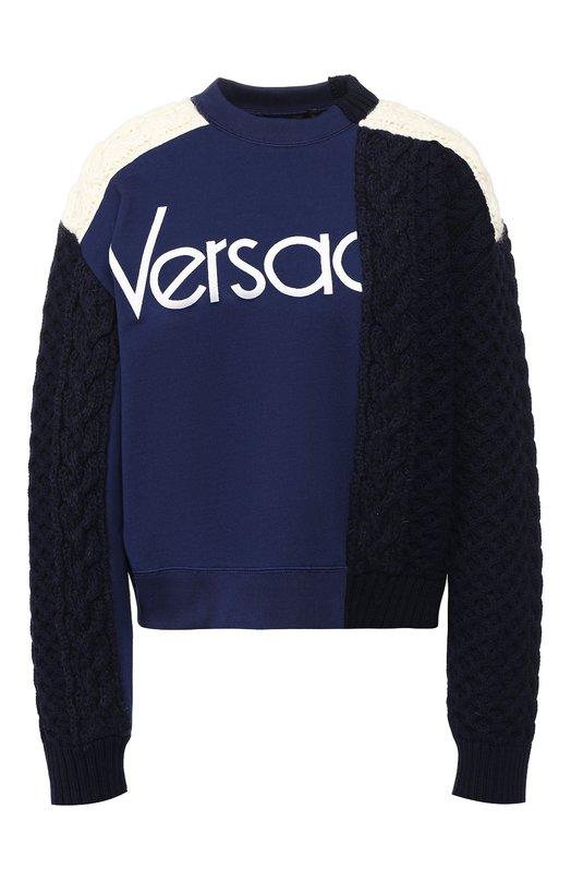 Шерстяной пуловер с логотипом бренда Versace