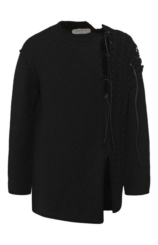 Купить Шерстяной свитер с декоративной отделкой Yohji Yamamoto, HV-K27-181, Япония, Черный, Шерсть: 100%; Отделка Кожа натуральная: 100%;