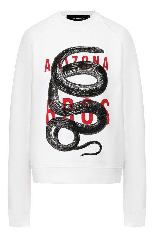 Купить Хлопковый пуловер с надписью и декоративной отделкой Dsquared2, S72GU0174/S25030, Италия, Белый, Хлопок: 100%;