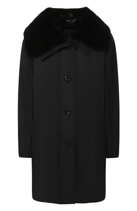 Купить Пальто на меховой подкладке Escada, 5028175, Румыния, Черный, Полиамид: 100%; Воротник/мех натуральный/: 100%; Подстежка/мех натуральный/: 100%;