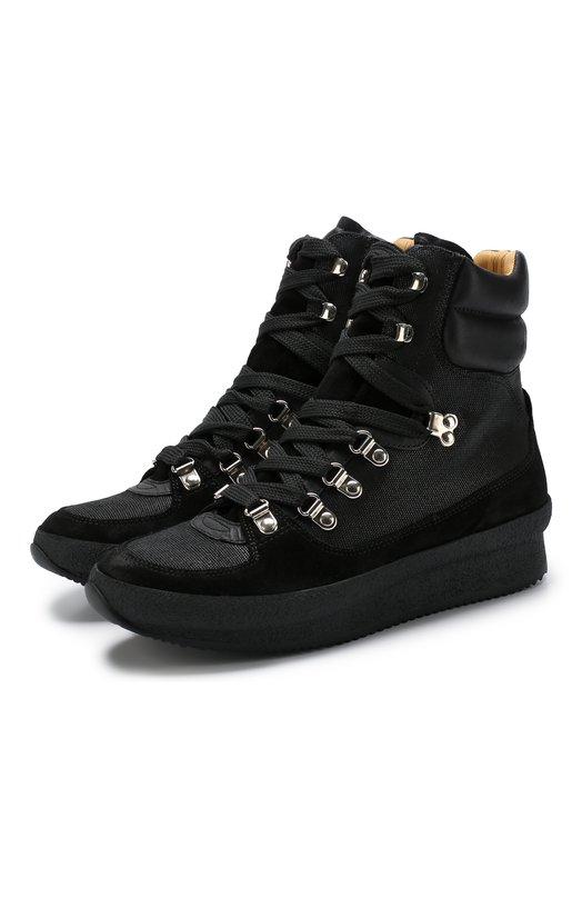 Купить Высокие комбинированные кроссовки Brendta на шнуровке Isabel Marant, BRENDTY/BK0042-00M109S, Португалия, Черный, Подошва-резина: 100%; Текстиль: 100%; Подкладка-кожа: 100%; Отделка-кожа: 100%;