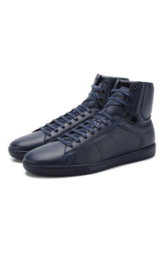 Купить Высокие кожаные кеды Court Classic на шнуровке Saint Laurent, 528779/0M500, Италия, Синий, Подошва-Резина: 100%; Подкладка-Кожа: 100%; Кожа: 100%;