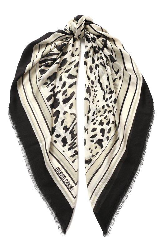 Купить Шаль из смеси вискозы и шерсти с анималистичным принтом Roberto Cavalli, HYI35Q/0B058, Италия, Черно-белый, Вискоза: 75%; Шерсть: 25%;