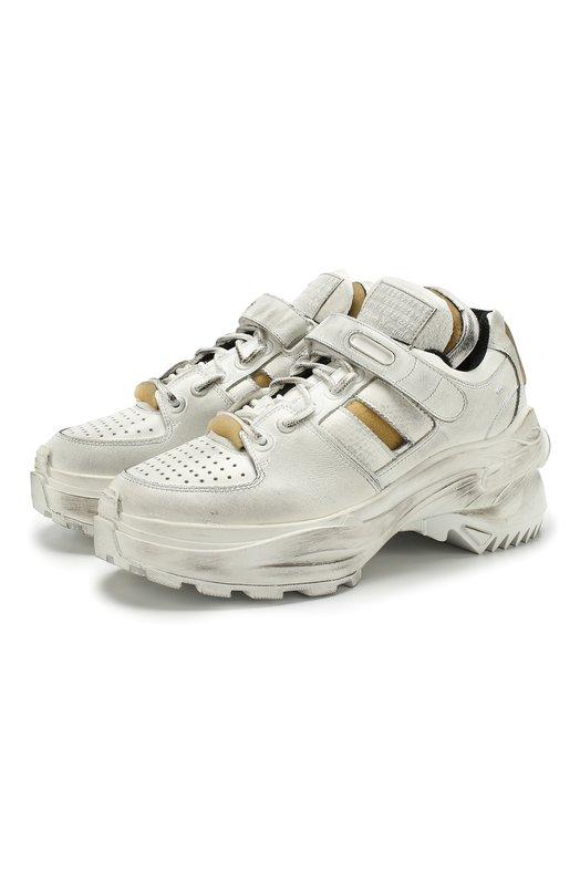 Купить Кожаные кроссовки Retro Fit на шнуровке Maison Margiela, S39WS0037/P2082, Италия, Белый, Подкладка-текстиль: 70%; Подкладка-кожа: 30%; Подошва-резина: 100%; Кожа: 100%;