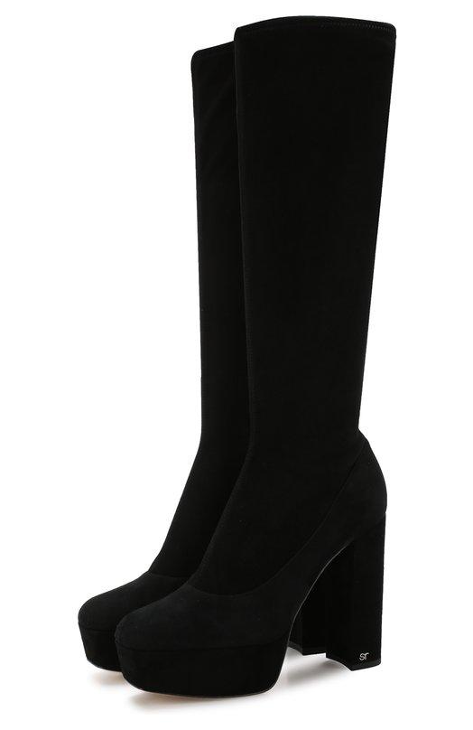 Купить Замшевые сапоги на устойчивом каблуке и платформе Sergio Rossi, A82690-MAF714, Италия, Черный, Подошва-кожа: 100%; Подкладка-кожа: 100%; Кожа: 100%;
