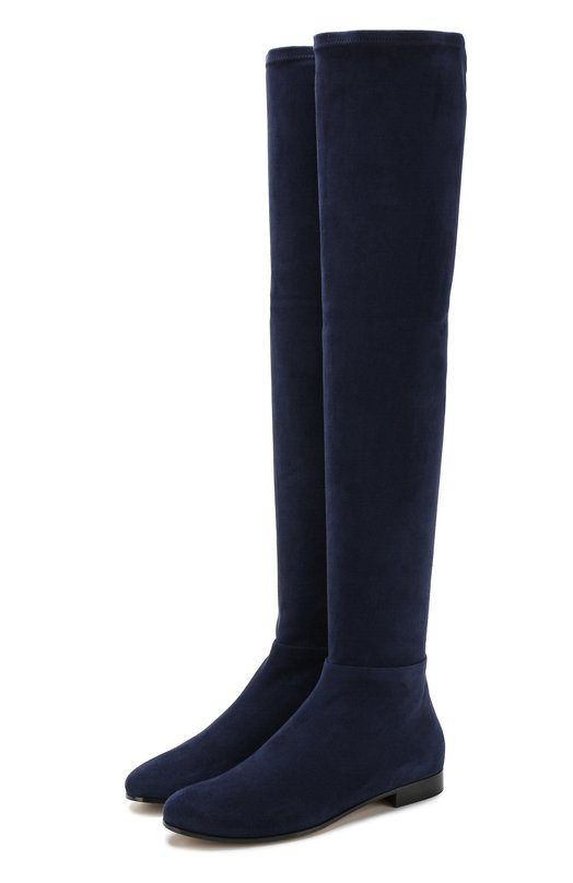 Купить Замшевые ботфорты Myren на низком каблуке Jimmy Choo, MYREN FLAT/DSD, Италия, Синий, Подошва-резина: 80%; Подошва-кожа: 20%; Стелька-кожа: 100%; Замша натуральная: 100%; Подкладка-кожа: 100%; Кожа: 100%;