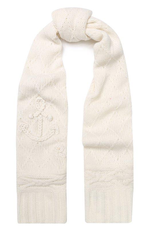 Купить Шерстяной шарф фактурной вязки Polo Ralph Lauren, 455731041, Китай, Кремовый, Шерсть: 80%; Полиамид: 20%;