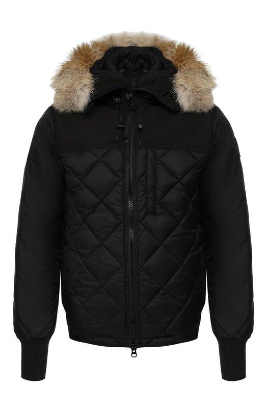 Купить Пуховая куртка Pritchard на молнии с капюшоном Canada Goose, 3203MB, Канада, Черный, Полиэстер: 85%; Хлопок: 15%; Подкладка-Полиамид: 100%; Отделка капюшона-Мех/койот/: 100%; Наполнитель-Гусиный пух: 100%;