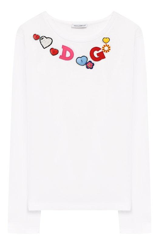 Купить Хлопковый лонгслив с аппликациями Dolce & Gabbana, L5JTAY/G70WC/8-14, Италия, Белый, Хлопок: 100%;