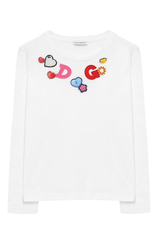 Купить Хлопковый лонгслив с аппликациями Dolce & Gabbana, L5JTAY/G70WC/2-6, Италия, Белый, Хлопок: 100%;