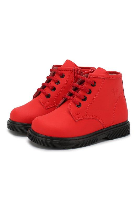Купить Кожаные ботинки на шнуровке с молнией Il Gufo, G433/SAHARA S0FT/18-22, Италия, Красный, Кожа натуральная: 100%; Стелька-кожа: 100%; Подошва-резина: 100%; Подкладка-кожа: 100%; Кожа: 100%;