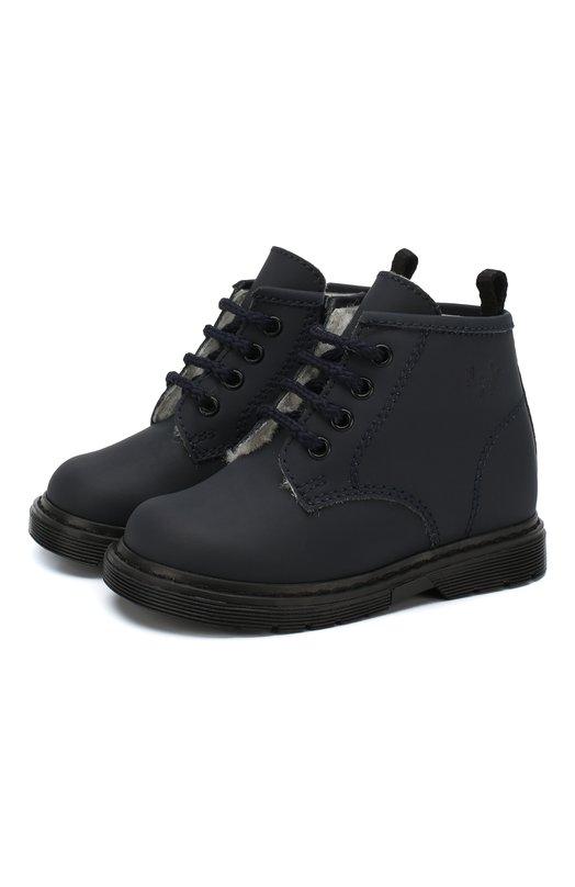 Купить Кожаные ботинки на шнуровке с молнией Il Gufo, G433/SAHARA S0FT/FUR/23-26, Италия, Синий, Подошва-резина: 100%; Подкладка-мех/овчина/: 100%; Кожа: 100%;