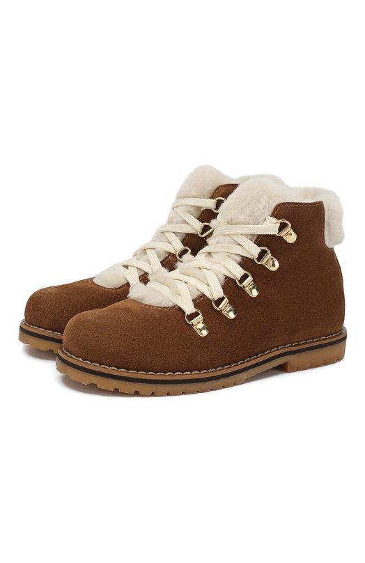 Купить Замшевые ботинки с внутренней меховой отделкой Il Gufo, G384/VEL0UR/27-30, Италия, Бежевый, Подошва-резина: 100%; Подкладка-мех/овчина/: 100%; Кожа: 100%;