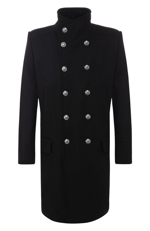 Двубортное пальто из смеси шерсти и кашемира Balmain