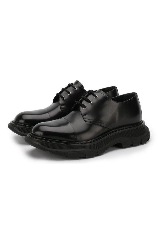 Купить Кожаные дерби на шнуровке Alexander McQueen, 535194/WHSW1, Италия, Черный, Кожа: 100%; Низ-Кожа: 100%; Подкладка-Кожа: 100%; Подошва-Резина: 100%;