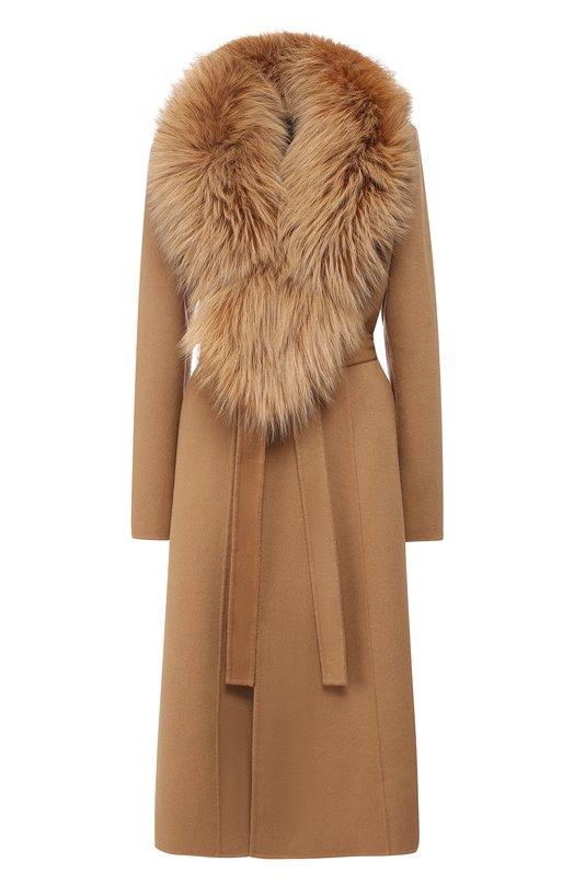 Купить Пальто из смеси шерсти и кашемира с воротником из меха лисы Yves Salomon, 9WYM01119CARD, Франция, Светло-коричневый, Шерсть: 90%; Кашемир: 100%; Воротник/лиса/: 100%; Подкладка-текстиль: 100%; Воротник/лисица/: 100%; Подкладка-шелк: 100%;