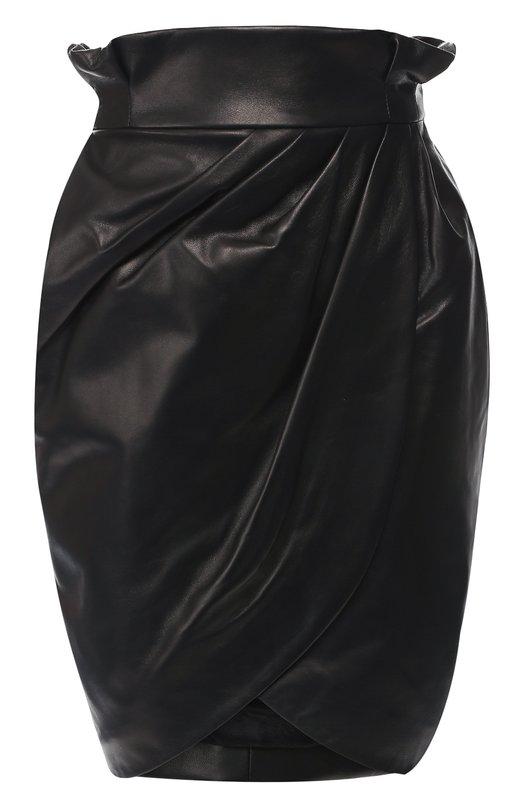 Купить Кожаная мини-юбка с завышенной талией Versace, A80985/A227281, Италия, Черный, Кожа: 100%;