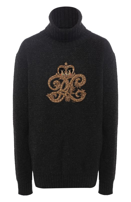 Купить Кашемировый пуловер с вышитым логотипом бренда Ralph Lauren, 290728782, Италия, Темно-серый, Кашемир: 100%;