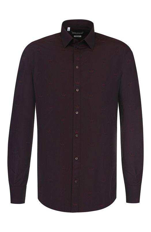 Купить Хлопковая сорочка с воротником кент Dolce & Gabbana, G5EJ0T/FJ5FP, Италия, Бордовый, Хлопок: 100%;