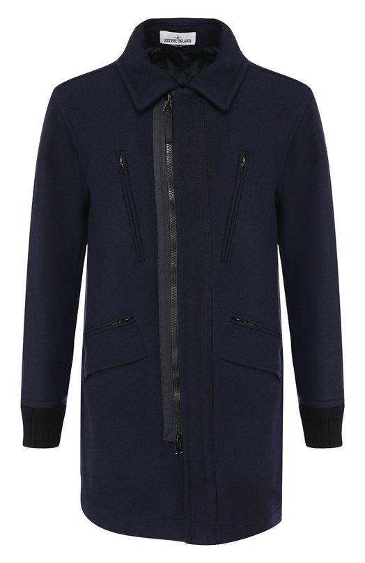 Купить Шерстяное пальто прямого кроя на молнии Stone Island, 691571030, Румыния, Темно-синий, Шерсть: 80%; Полиамид: 20%; Подкладка-Текстиль: 100%;