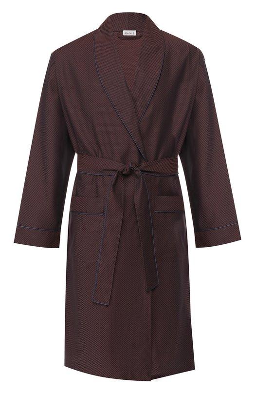 Купить Хлопковый халат с поясом Zimmerli, 4713-75140, Польша, Коричневый, Хлопок: 100%;