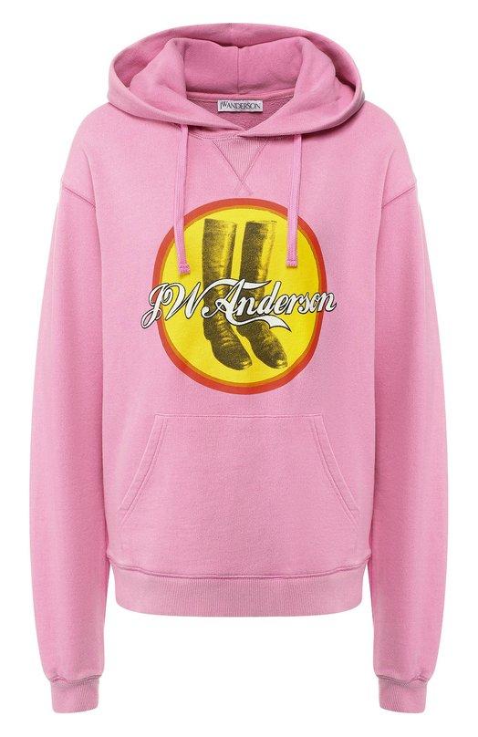 Купить Хлопковый пуловер с капюшоном и принтом J.W. Anderson, JE03118E 714/339, Португалия, Розовый, Хлопок: 100%;