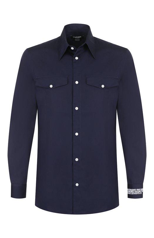 Купить Хлопковая рубашка с принтом CALVIN KLEIN 205W39NYC, 83MWTC70/C111, Италия, Темно-синий, Хлопок: 100%;