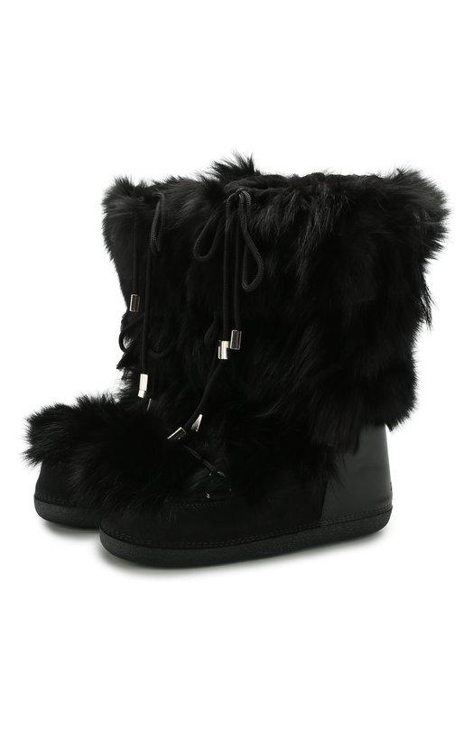 Купить Кожаные сапоги на шнуровке с меховой отделкой Dsquared2, SBM0005 26800001, Италия, Черный, Мех/лиса/: 85%; Кожа: 15%; Подкладка-Мех/овчина/: 100%; Подошва-Полимер: 100%;
