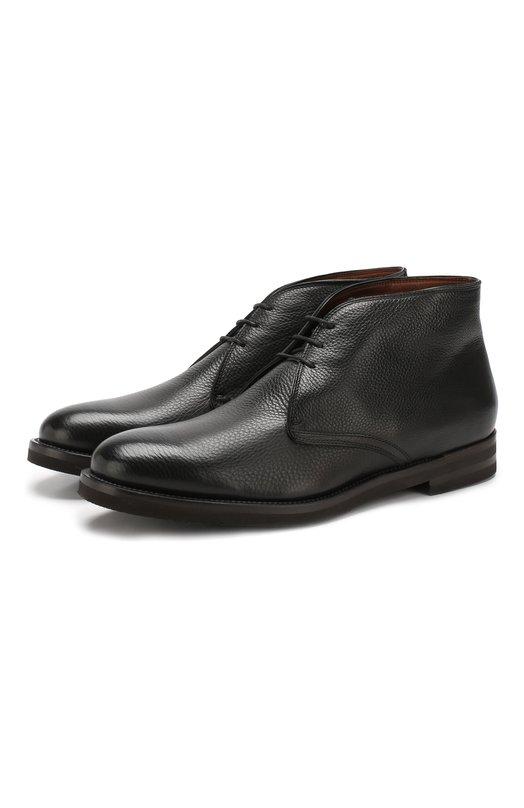Купить Кожаные ботинки на шнуровке с внутренней меховой отделкой Fratelli Rossetti, 12556/94101, Италия, Черный, Подошва-Резина: 100%; Подкладка-Мех/овчина/: 100%; Кожа: 100%;