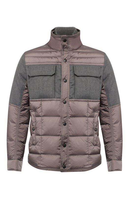 Купить Пуховая куртка на молнии с воротником-стойкой Moncler, D2-091-41339-85-53227, Румыния, Серый, Наполнитель-Гусиный пух: 90%; Подкладка-Полиамид: 100%; Полиамид: 100%; Наполнитель-Гусиное перо: 10%;