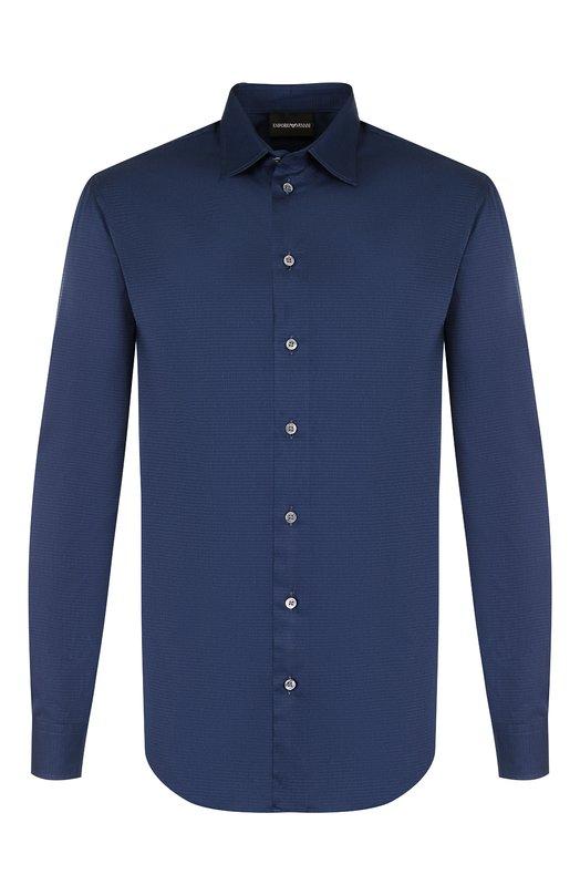 Купить Хлопковая рубашка с воротником кент Emporio Armani, 01SM0L/0BC72, Тунис, Синий, Хлопок: 100%;