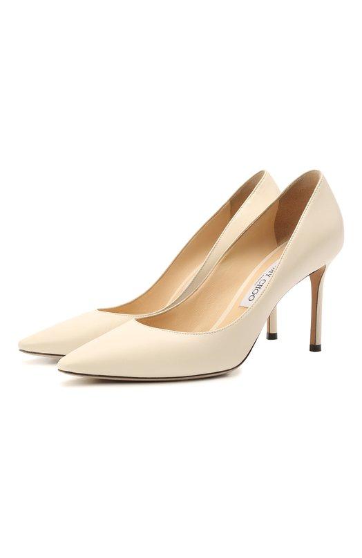 Купить Кожаные туфли Romy 85 Jimmy Choo, R0MY 85/KID, Италия, Белый, Кожа натуральная: 100%; Стелька-кожа: 100%; Подошва-кожа: 100%; Подкладка-кожа: 100%; Кожа: 100%; Низ-кожа: 100%;