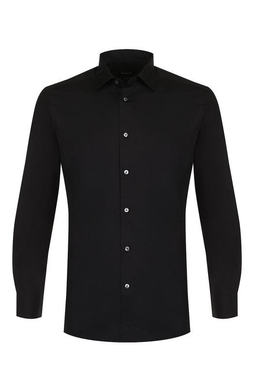 Купить Хлопковая сорочка с воротником кент Ermenegildo Zegna, 401069/9HS0MT, Румыния, Черный, Хлопок: 100%;