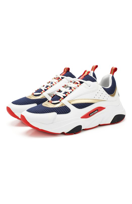 Купить Комбинированные кроссовки B22 на шнуровке Dior, 3SN231YD0, Италия, Белый, Текстиль: 80%; Подкладка-Текстиль: 80%; Кожа: 20%; Подкладка-Кожа: 20%; Подошва-Резина: 100%;